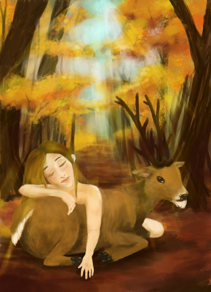A story of a girl and a deer  by Sofie Arts on sofiedoesart.com in getting started with digital art.