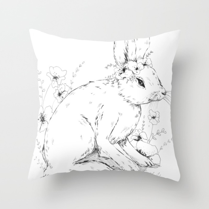 Snow shoe hare pillow example